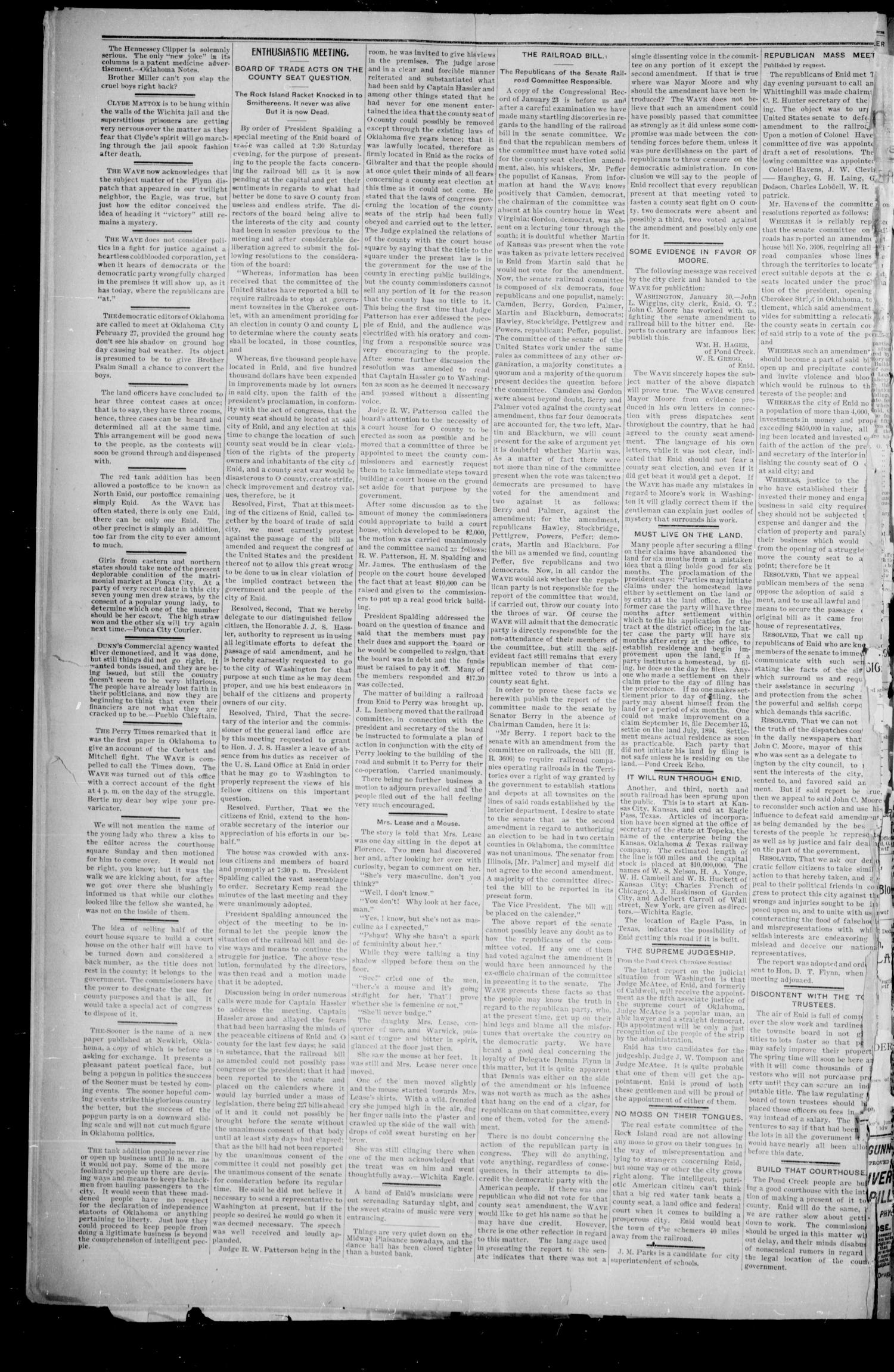 The Enid Weekly Wave. (Enid, Okla. Terr.), Vol. 1, No. 8, Ed. 1 Saturday, February 3, 1894                                                                                                      [Sequence #]: 2 of 8