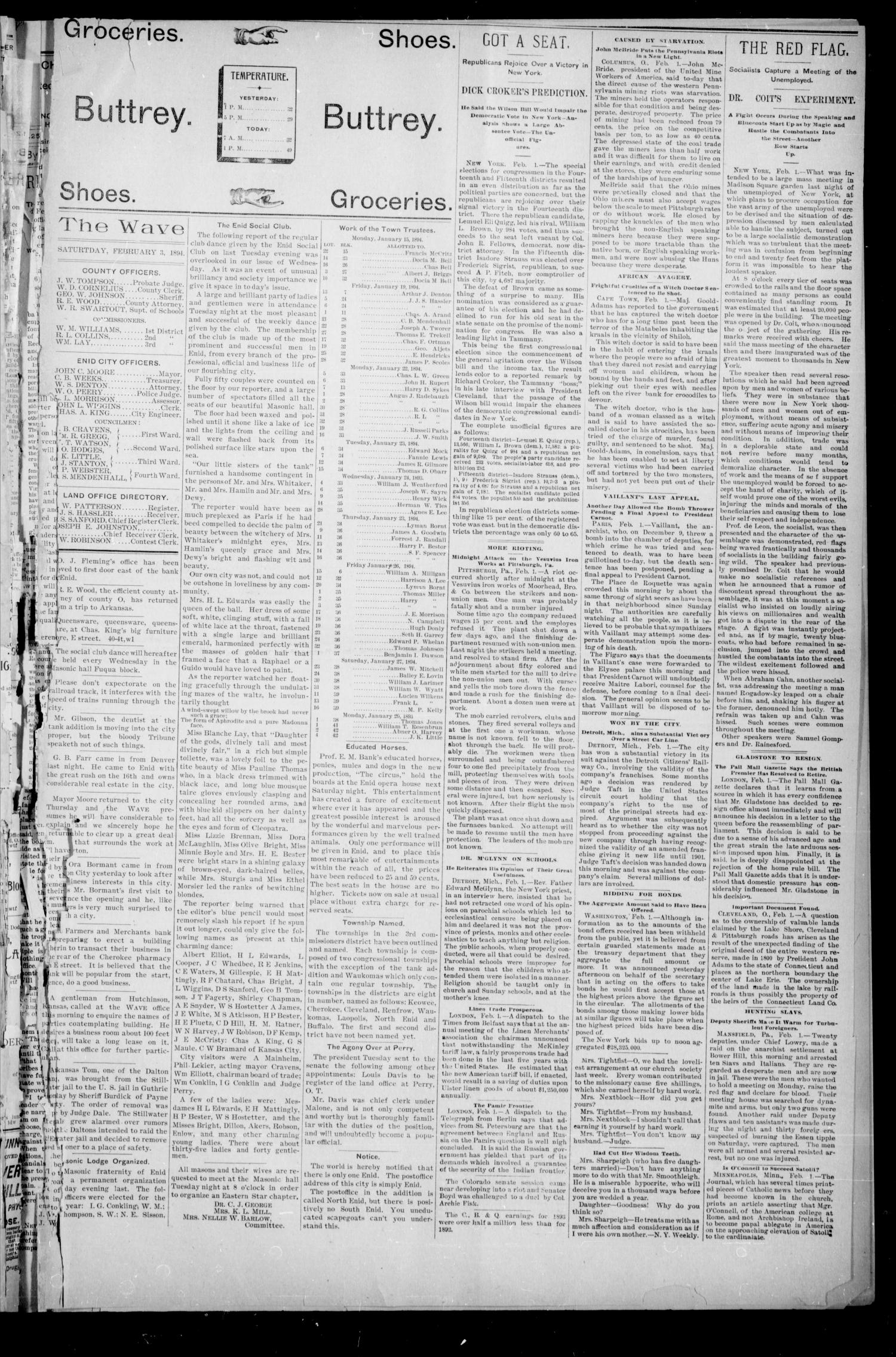 The Enid Weekly Wave. (Enid, Okla. Terr.), Vol. 1, No. 8, Ed. 1 Saturday, February 3, 1894                                                                                                      [Sequence #]: 5 of 8