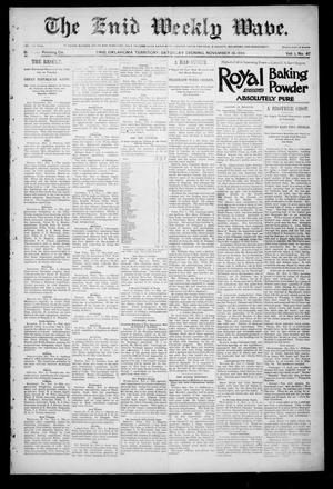 Primary view of object titled 'The Enid Weekly Wave. (Enid, Okla. Terr.), Vol. 1, No. 47, Ed. 1 Saturday, November 10, 1894'.