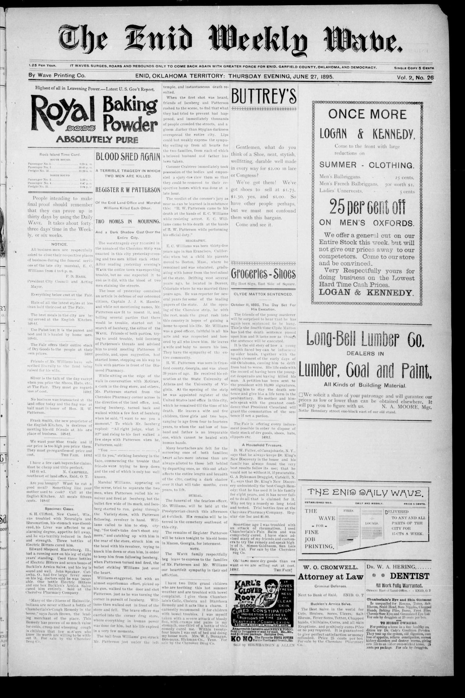 The Enid Weekly Wave. (Enid, Okla. Terr.), Vol. 2, No. 26, Ed. 1 Thursday, June 27, 1895                                                                                                      [Sequence #]: 1 of 8