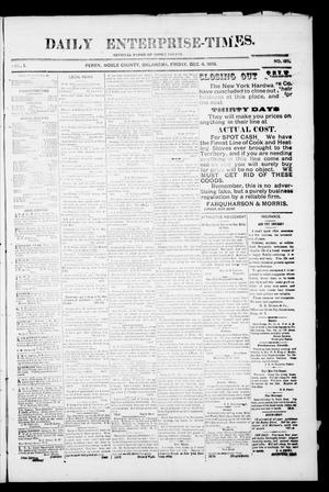 Primary view of object titled 'Daily Enterprise-Times. (Perry, Okla.), Vol. 1, No. 184, Ed. 1 Friday, December 6, 1895'.