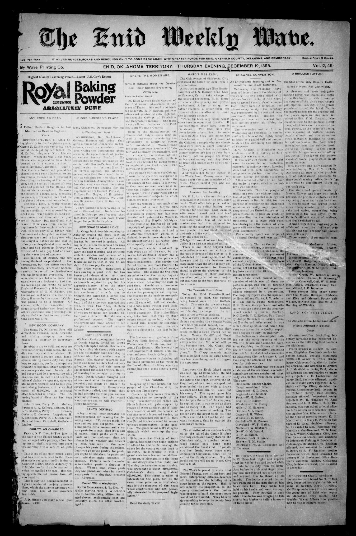 The Enid Weekly Wave. (Enid, Okla. Terr.), Vol. 2, No. 49, Ed. 1 Thursday, December 12, 1895                                                                                                      [Sequence #]: 1 of 4