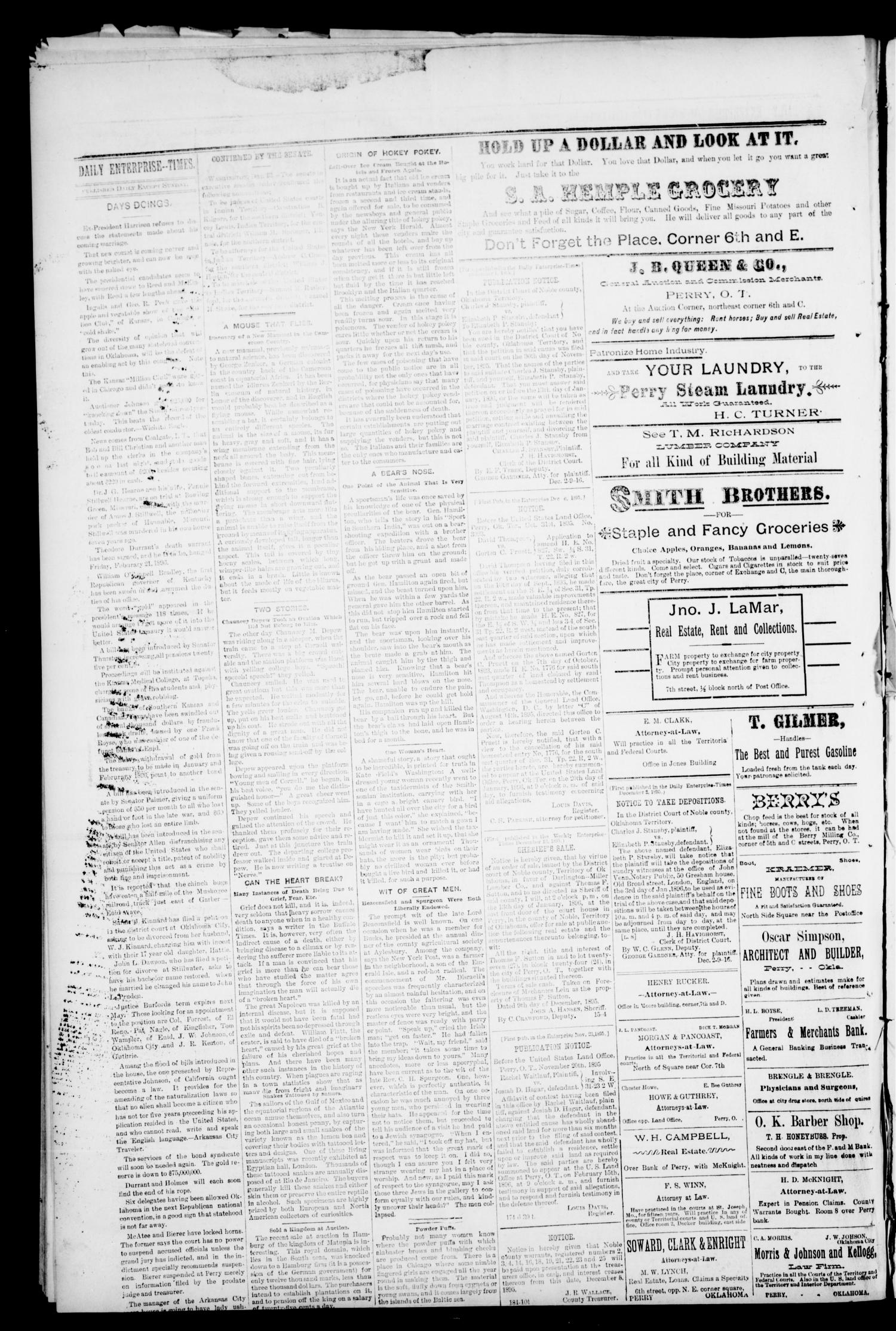 Daily Enterprise-Times. (Perry, Okla.), Vol. 1, No. 192, Ed. 1 Saturday, December 14, 1895                                                                                                      [Sequence #]: 4 of 4