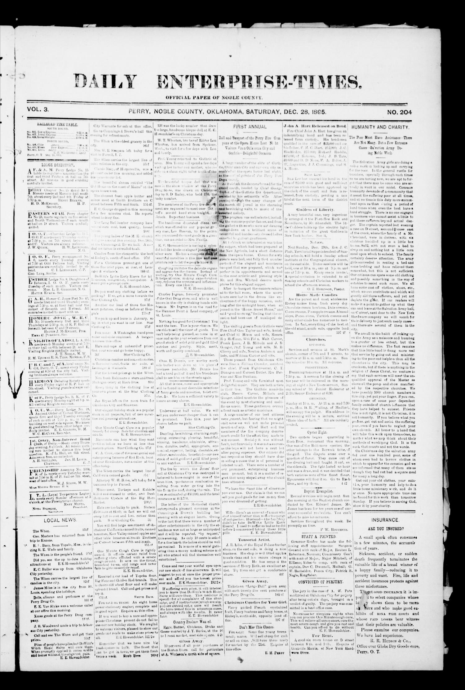 Daily Enterprise-Times. (Perry, Okla.), Vol. 1, No. 204, Ed. 1 Saturday, December 28, 1895                                                                                                      [Sequence #]: 1 of 4