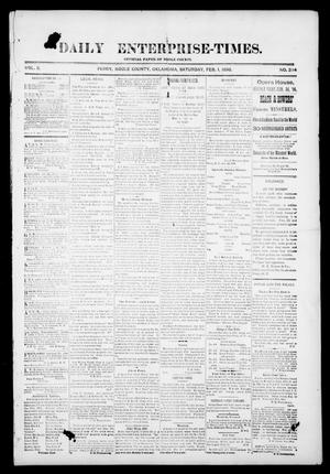 Primary view of object titled 'Daily Enterprise-Times. (Perry, Okla.), Vol. 1, No. 234, Ed. 1 Saturday, February 1, 1896'.