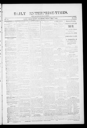 Primary view of object titled 'Daily Enterprise-Times. (Perry, Okla.), Vol. 1, No. 239, Ed. 1 Friday, February 7, 1896'.