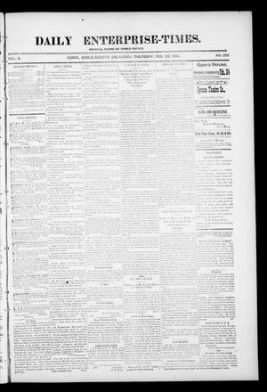 Primary view of object titled 'Daily Enterprise-Times. (Perry, Okla.), Vol. 1, No. 250, Ed. 1 Thursday, February 20, 1896'.