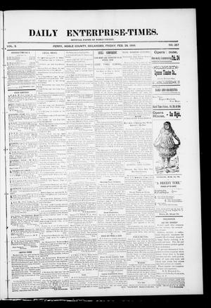 Primary view of object titled 'Daily Enterprise-Times. (Perry, Okla.), Vol. 1, No. 257, Ed. 1 Friday, February 28, 1896'.