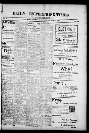 Daily Enterprise-Times. (Perry, Okla.), Vol. 3, No. 289, Ed. 1 Monday, April 6, 1896