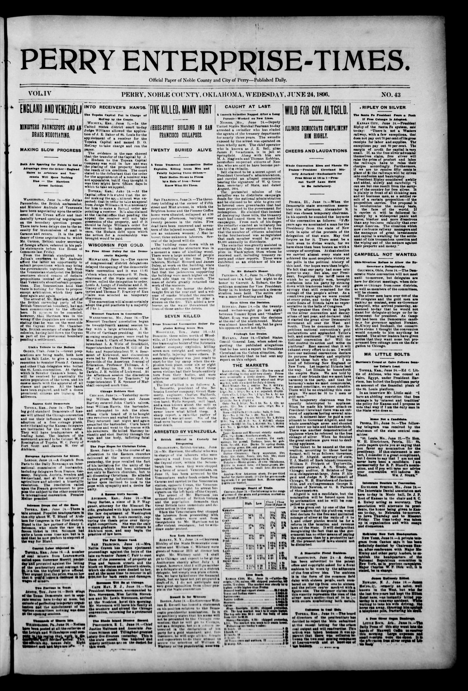 Perry Enterprise-Times. (Perry, Okla.), Vol. 4, No. 43, Ed. 1 Wednesday, June 24, 1896                                                                                                      [Sequence #]: 1 of 4