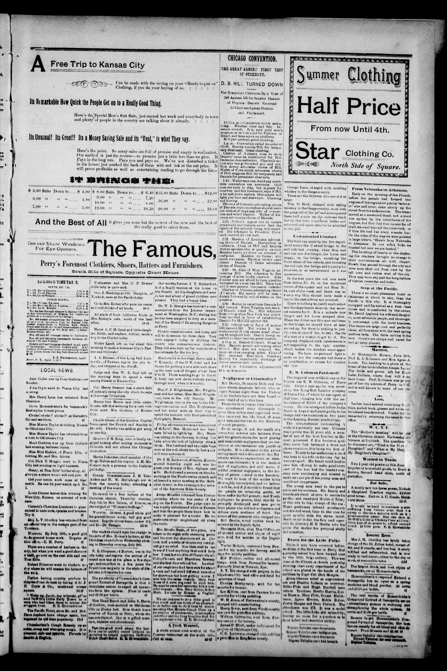 Perry Enterprise-Times. (Perry, Okla.), Vol. 5, No. 1, Ed. 1 Tuesday, July 7, 1896                                                                                                      [Sequence #]: 3 of 4
