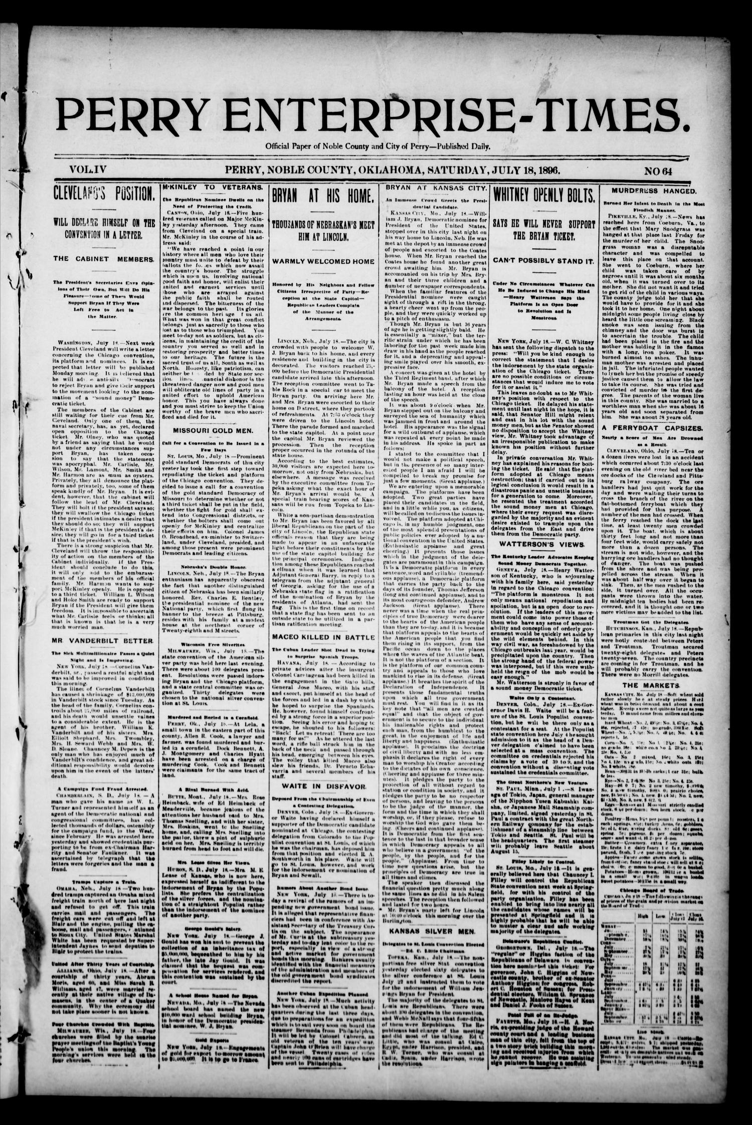 Perry Enterprise-Times. (Perry, Okla.), Vol. 4, No. 64, Ed. 1 Saturday, July 18, 1896                                                                                                      [Sequence #]: 1 of 4
