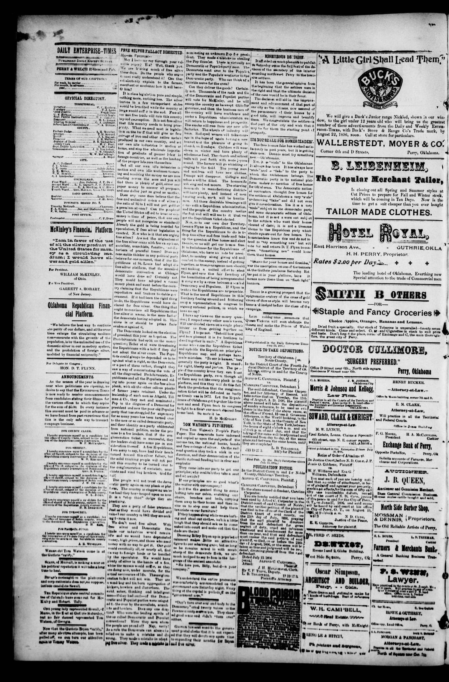 Perry Enterprise-Times. (Perry, Okla.), Vol. 4, No. 77, Ed. 1 Monday, August 3, 1896                                                                                                      [Sequence #]: 2 of 4