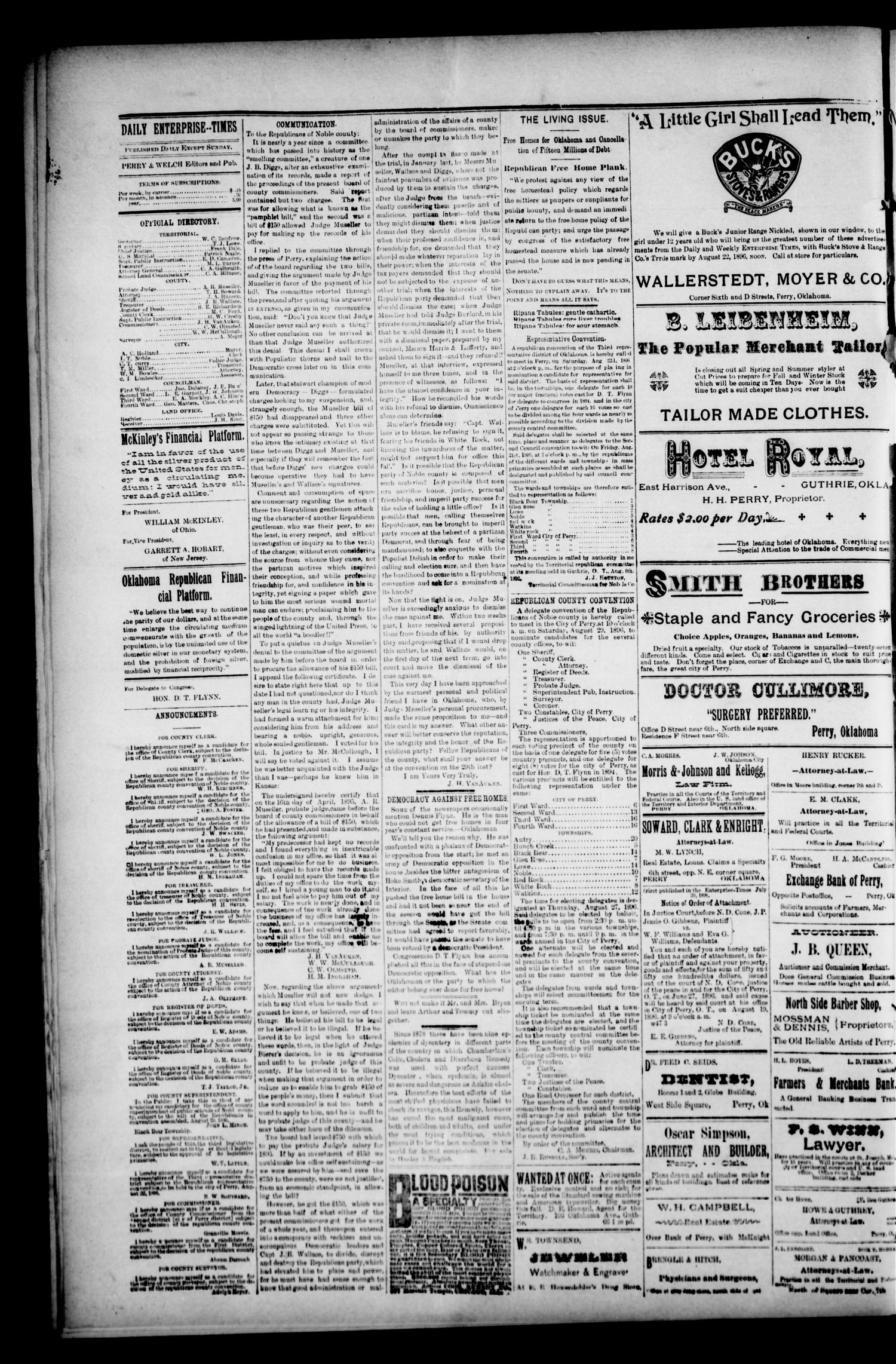 Perry Enterprise-Times. (Perry, Okla.), Vol. 4, No. 91, Ed. 1 Wednesday, August 19, 1896                                                                                                      [Sequence #]: 2 of 4
