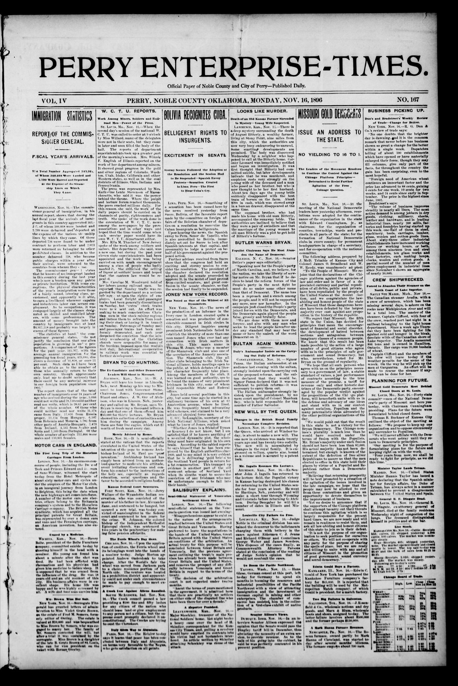 Perry Enterprise-Times. (Perry, Okla.), Vol. 4, No. 167, Ed. 1 Monday, November 16, 1896                                                                                                      [Sequence #]: 1 of 4