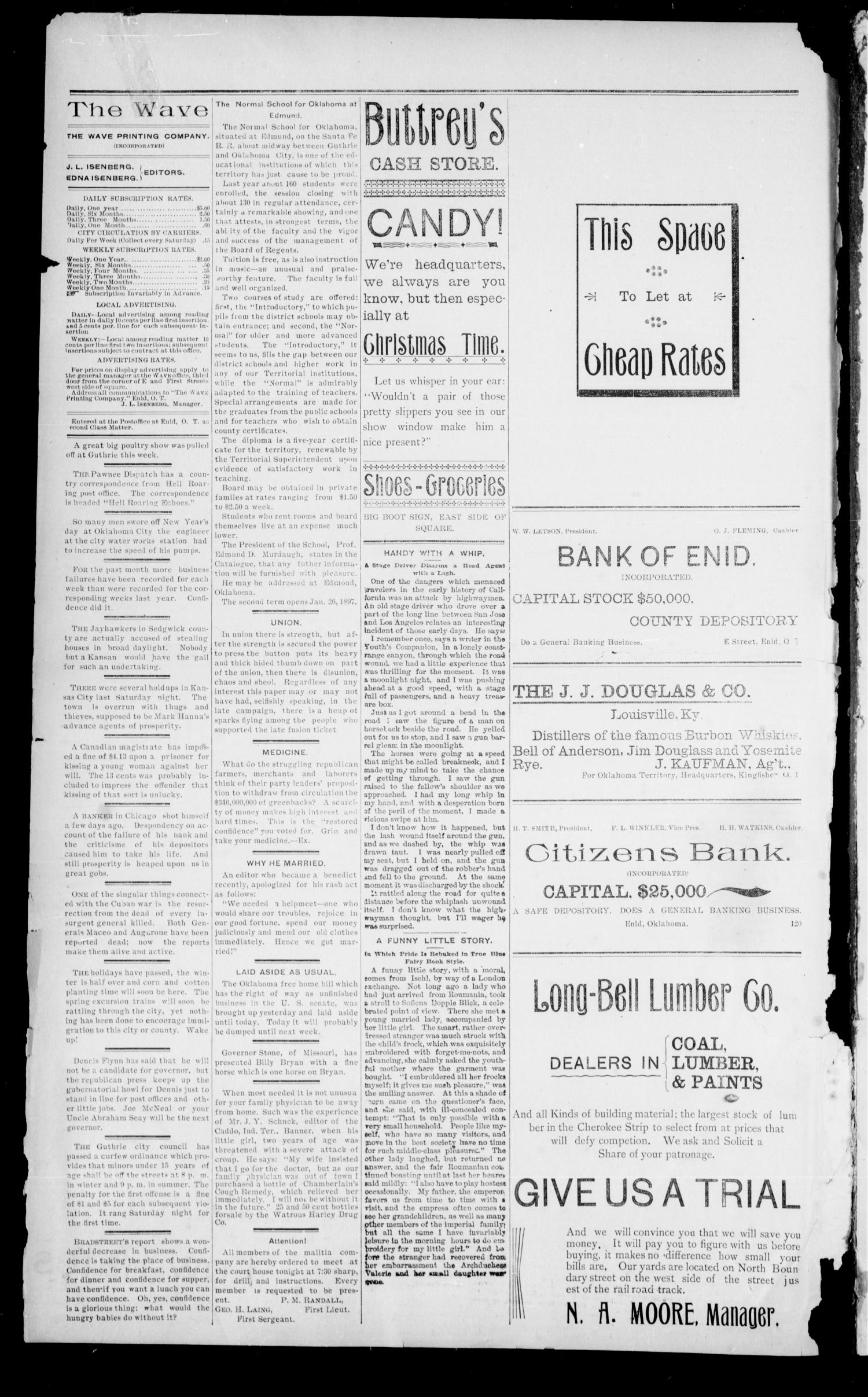 The Enid Weekly Wave. (Enid, Okla. Terr.), Vol. 4, No. 1, Ed. 1 Thursday, January 7, 1897                                                                                                      [Sequence #]: 2 of 8