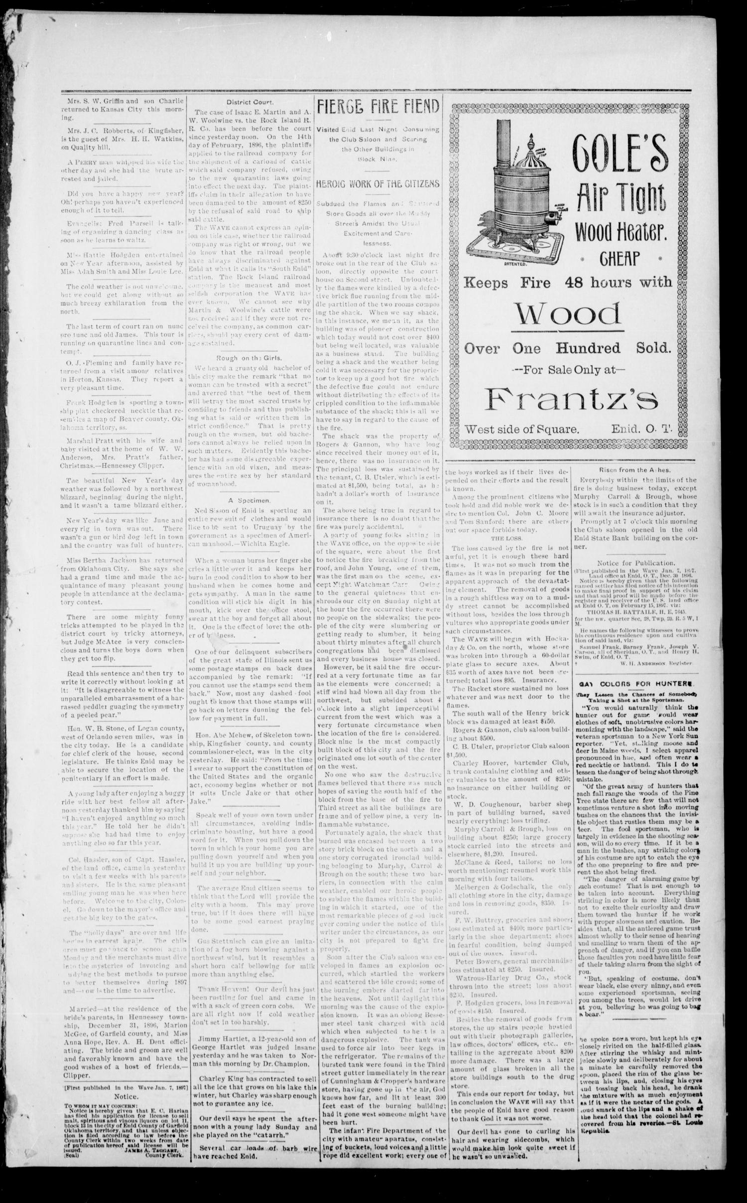 The Enid Weekly Wave. (Enid, Okla. Terr.), Vol. 4, No. 1, Ed. 1 Thursday, January 7, 1897                                                                                                      [Sequence #]: 3 of 8