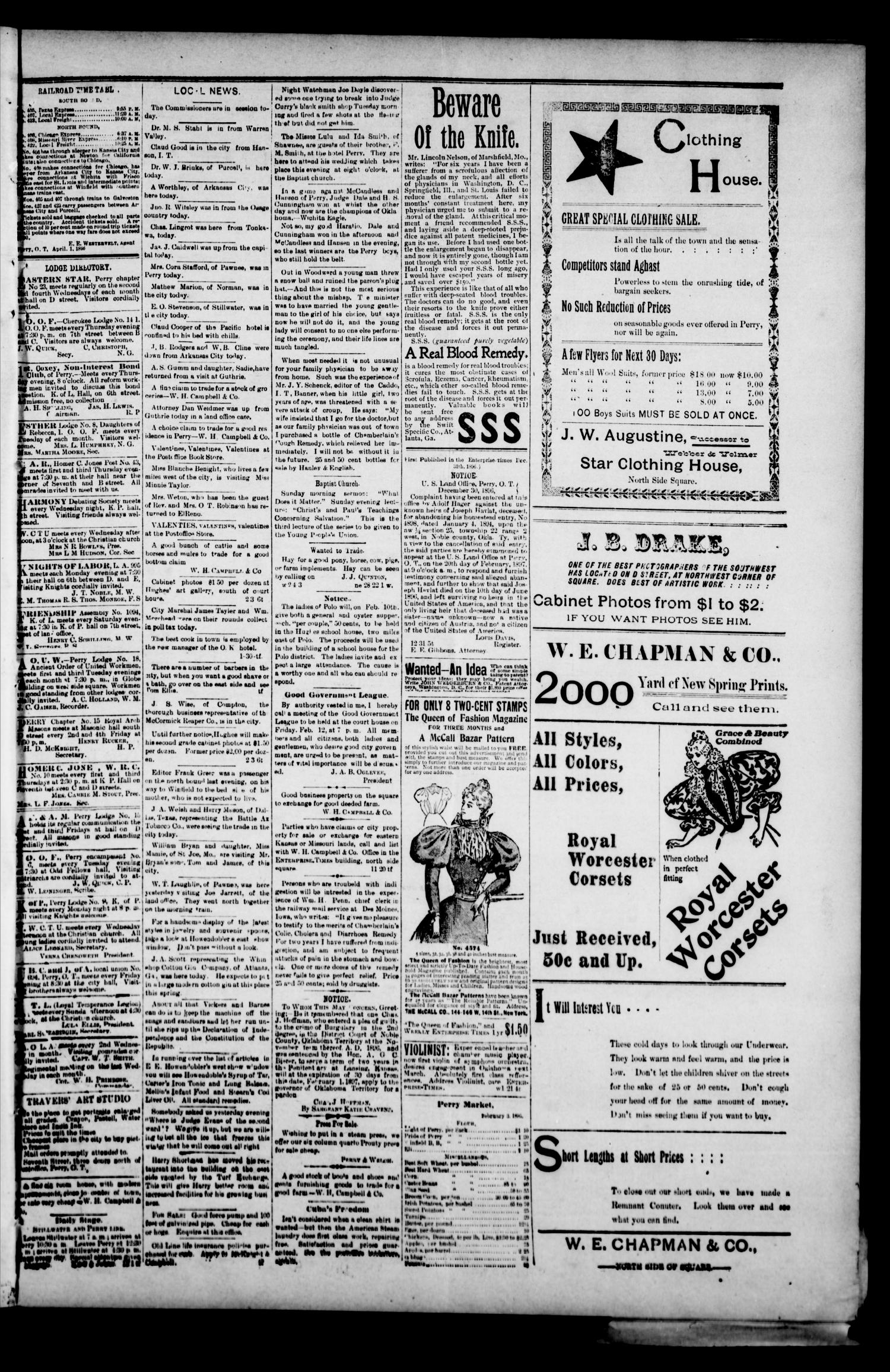 Perry Enterprise-Times. (Perry, Okla.), Vol. 4, No. 226, Ed. 1 Wednesday, February 3, 1897                                                                                                      [Sequence #]: 3 of 4