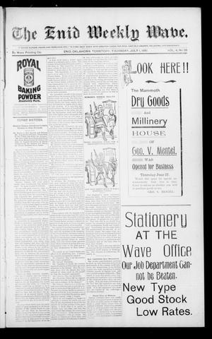 Primary view of object titled 'The Enid Weekly Wave. (Enid, Okla. Terr.), Vol. 4, No. 26, Ed. 1 Thursday, July 1, 1897'.