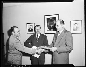 Primary view of object titled 'Three Men from IBM in Oklahoma City, Oklahoma'.