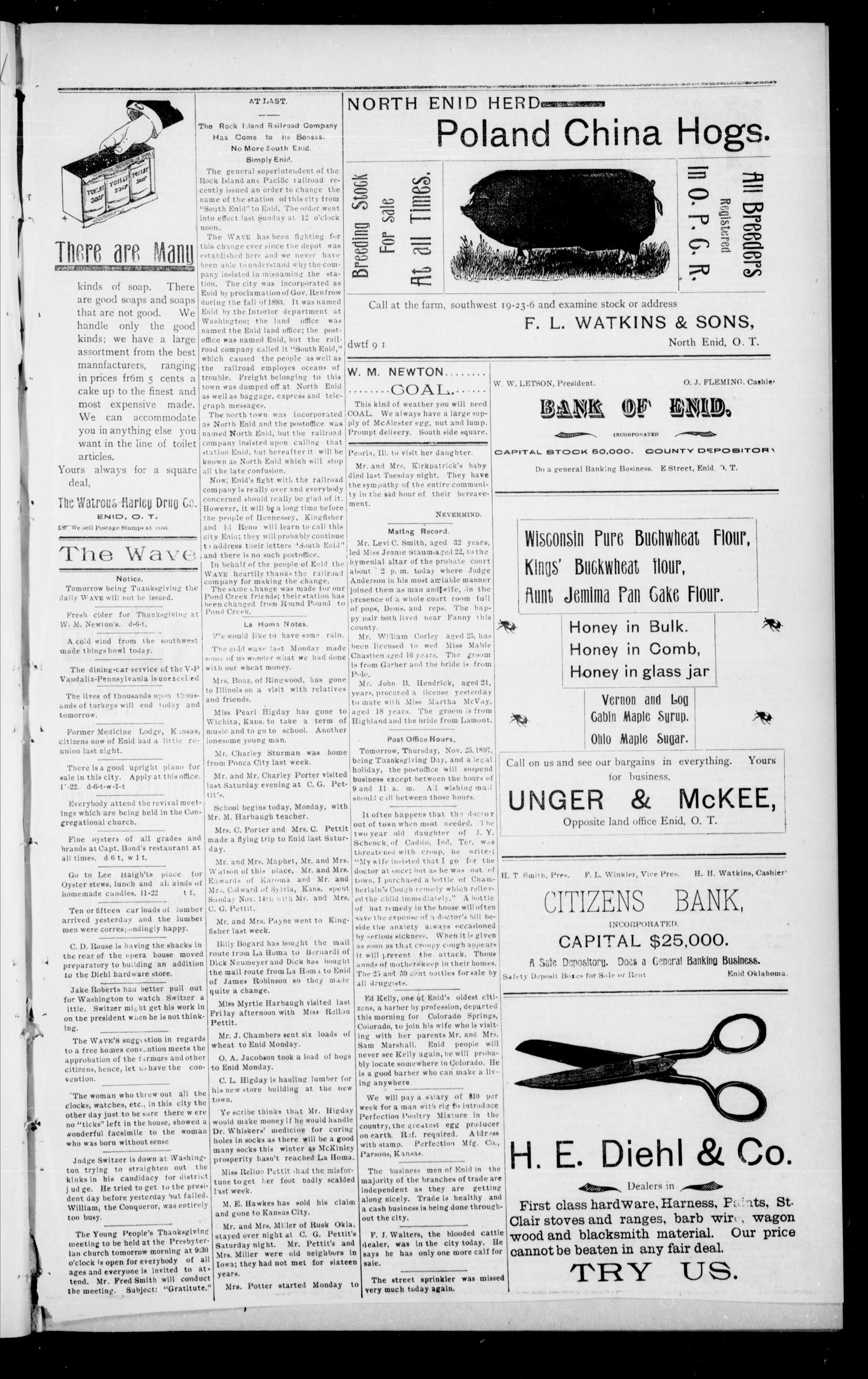 The Enid Weekly Wave. (Enid, Okla. Terr.), Vol. 4, No. 47, Ed. 1 Thursday, November 25, 1897                                                                                                      [Sequence #]: 7 of 8