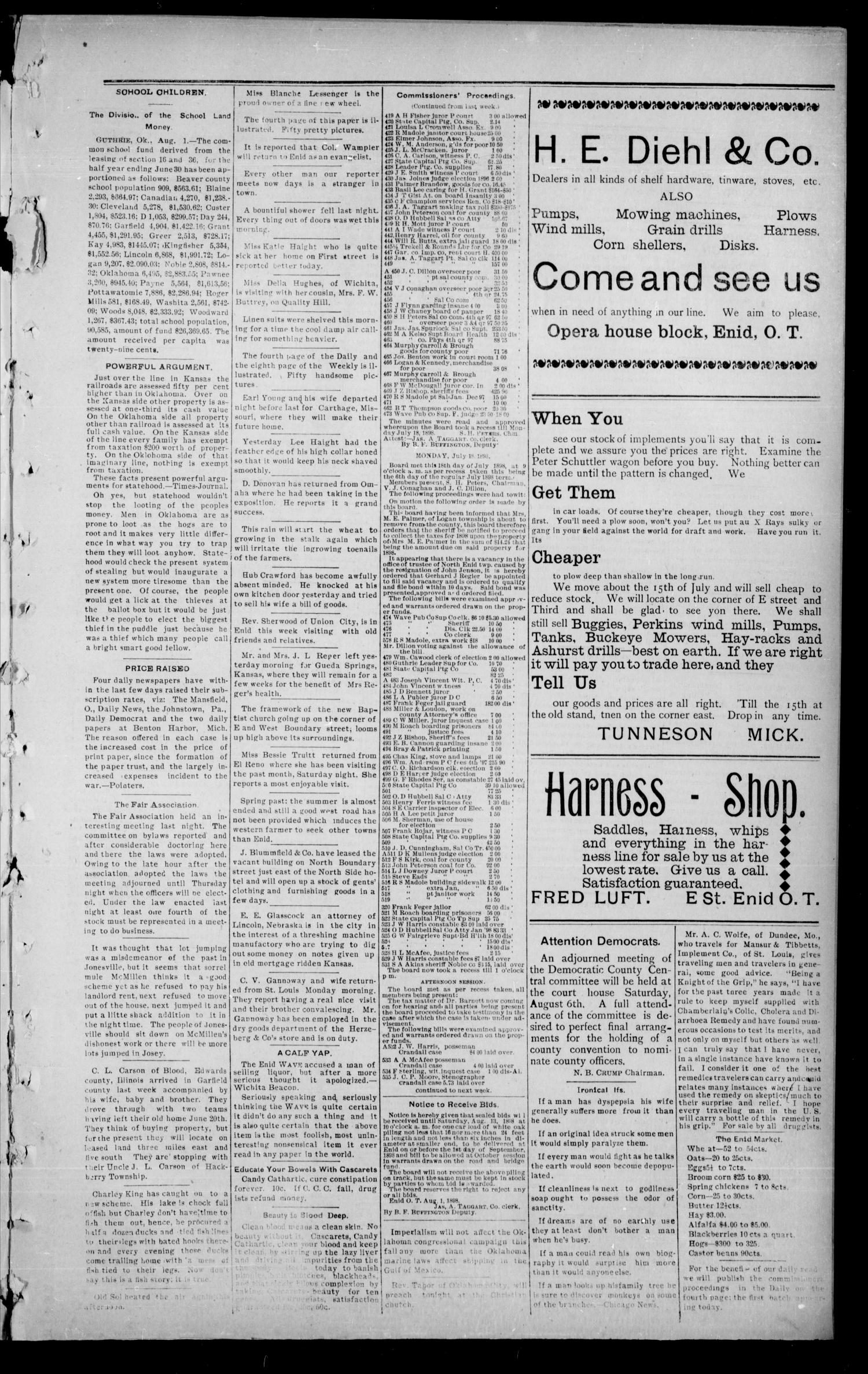 The Enid Weekly Wave. (Enid, Okla. Terr.), Vol. 5, No. 31, Ed. 1 Thursday, August 4, 1898                                                                                                      [Sequence #]: 3 of 8