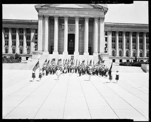 Primary view of object titled 'Drumright High School Band in Oklahoma City, Oklahoma'.