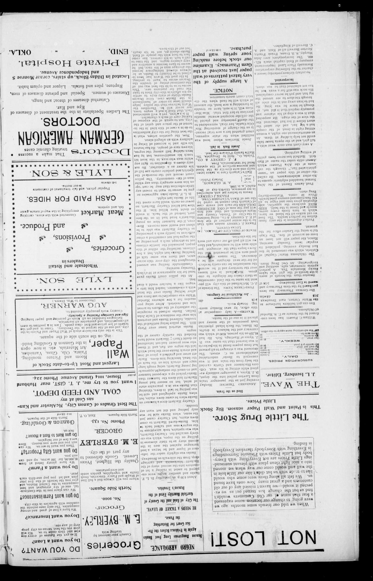 The Enid Weekly Wave. (Enid, Okla. Terr.), Vol. 9, No. 13, Ed. 1 Thursday, April 3, 1902                                                                                                      [Sequence #]: 2 of 8