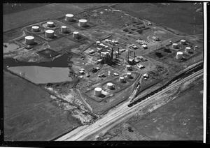 Primary view of object titled 'Aerial View of Mercury Oil Company in Oklahoma'.