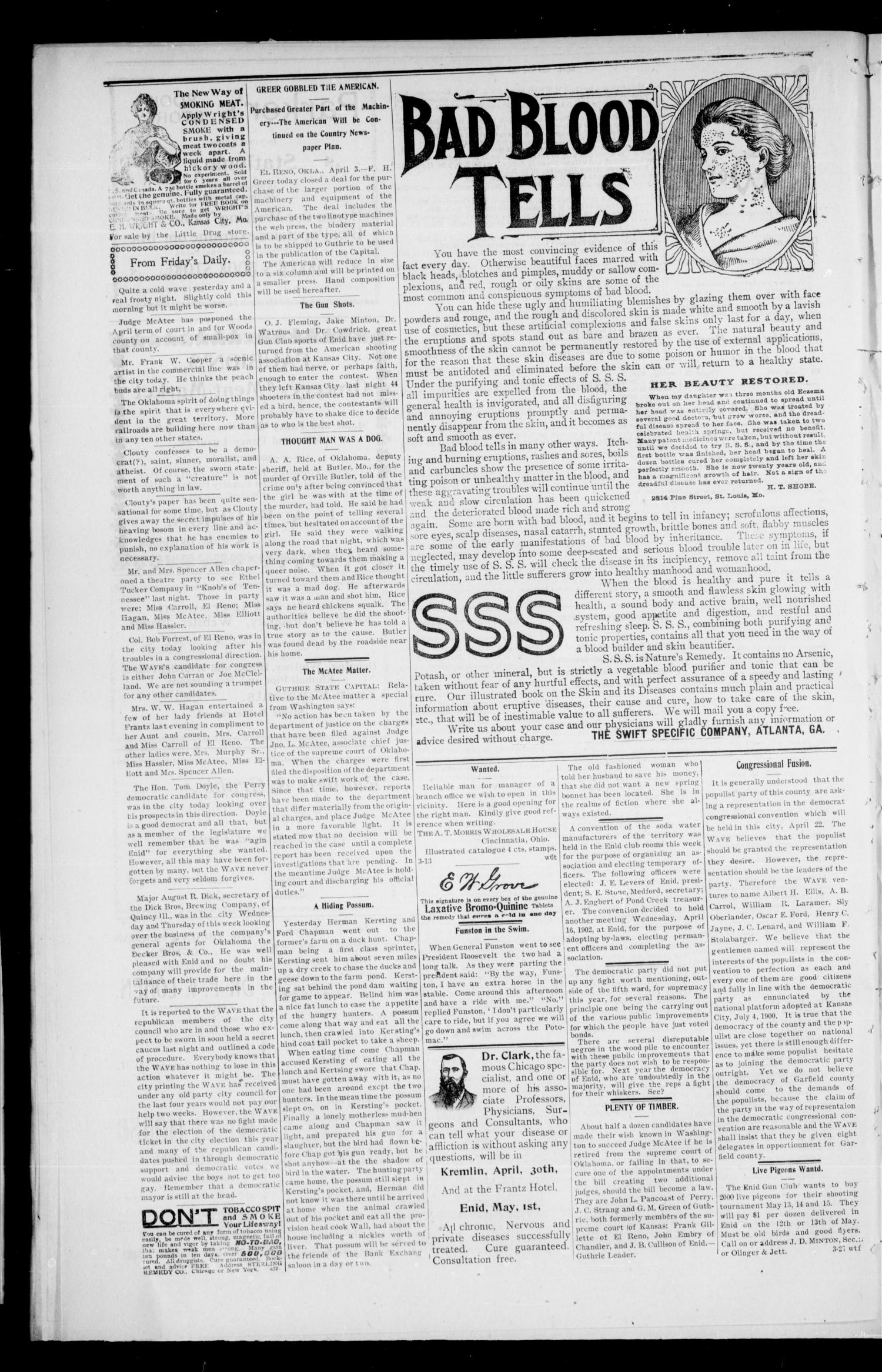 The Enid Weekly Wave. (Enid, Okla. Terr.), Vol. 9, No. 14, Ed. 1 Thursday, April 10, 1902                                                                                                      [Sequence #]: 4 of 8