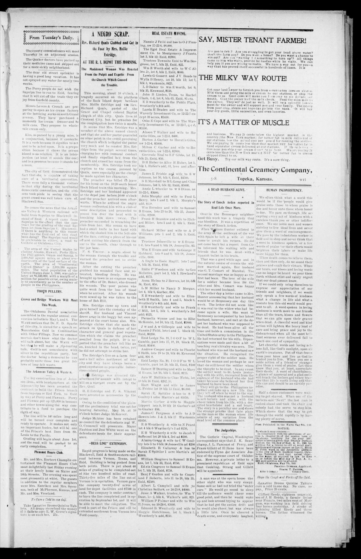 The Enid Weekly Wave. (Enid, Okla. Terr.), Vol. 9, No. 18, Ed. 1 Thursday, May 8, 1902                                                                                                      [Sequence #]: 3 of 8