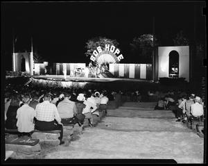 Primary view of object titled 'Audience, Stage and Performers at the Bob Hope Show in Oklahoma City, Oklahoma'.