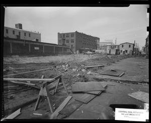 Primary view of object titled 'Buildings Surrounding the Construction Area of the Southwestern Bell Telephone Central Dial Addition in Oklahoma City, Oklahoma'.