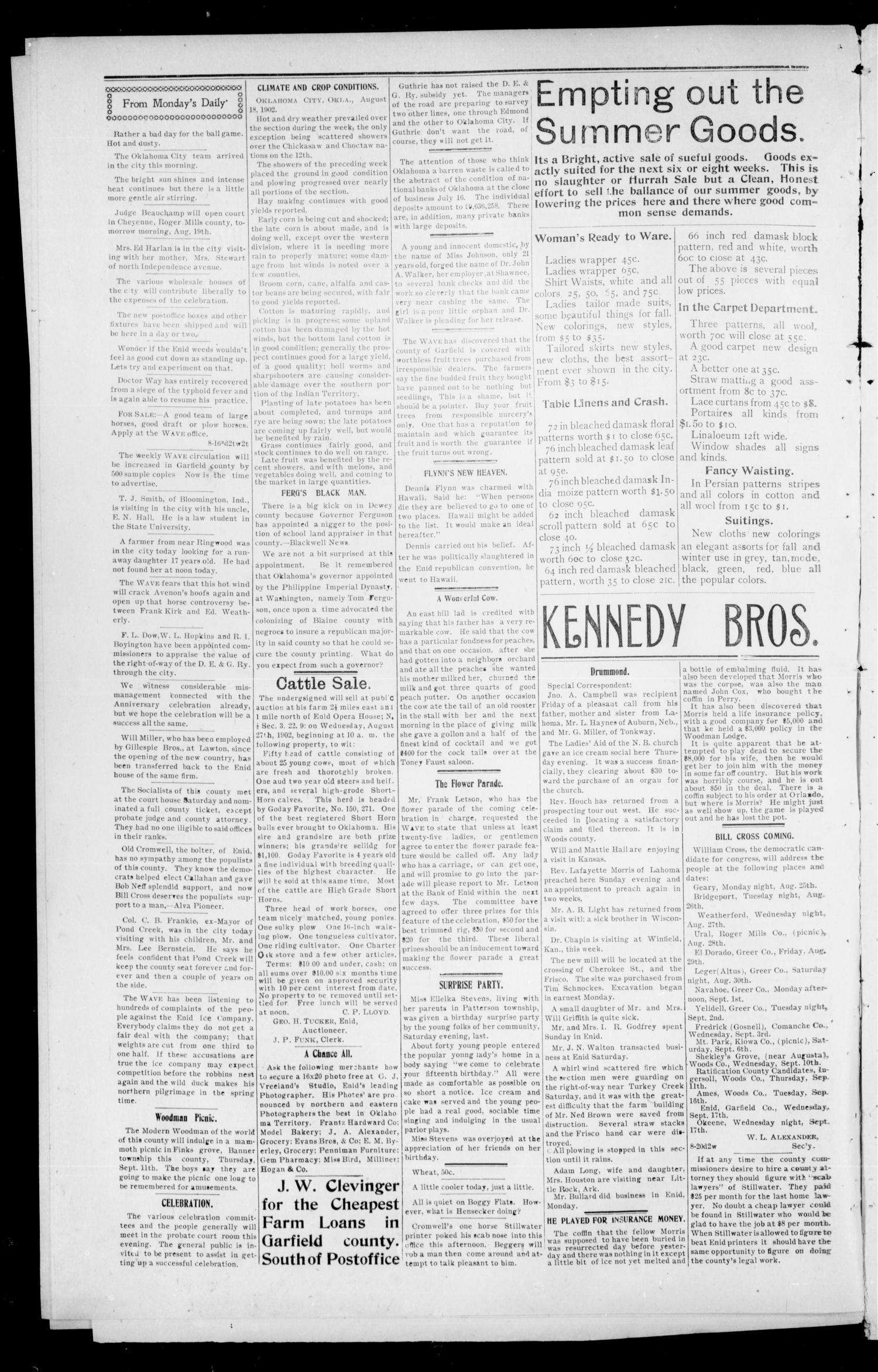 The Enid Weekly Wave. (Enid, Okla. Terr.), Vol. 9, No. 33, Ed. 1 Thursday, August 21, 1902                                                                                                      [Sequence #]: 2 of 8