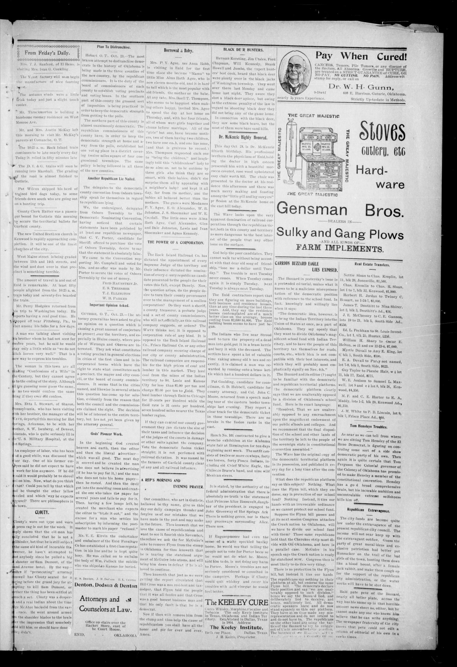 The Enid Weekly Wave. (Enid, Okla. Terr.), Vol. 9, No. 43, Ed. 1 Thurssday, October 30, 1902                                                                                                      [Sequence #]: 5 of 8