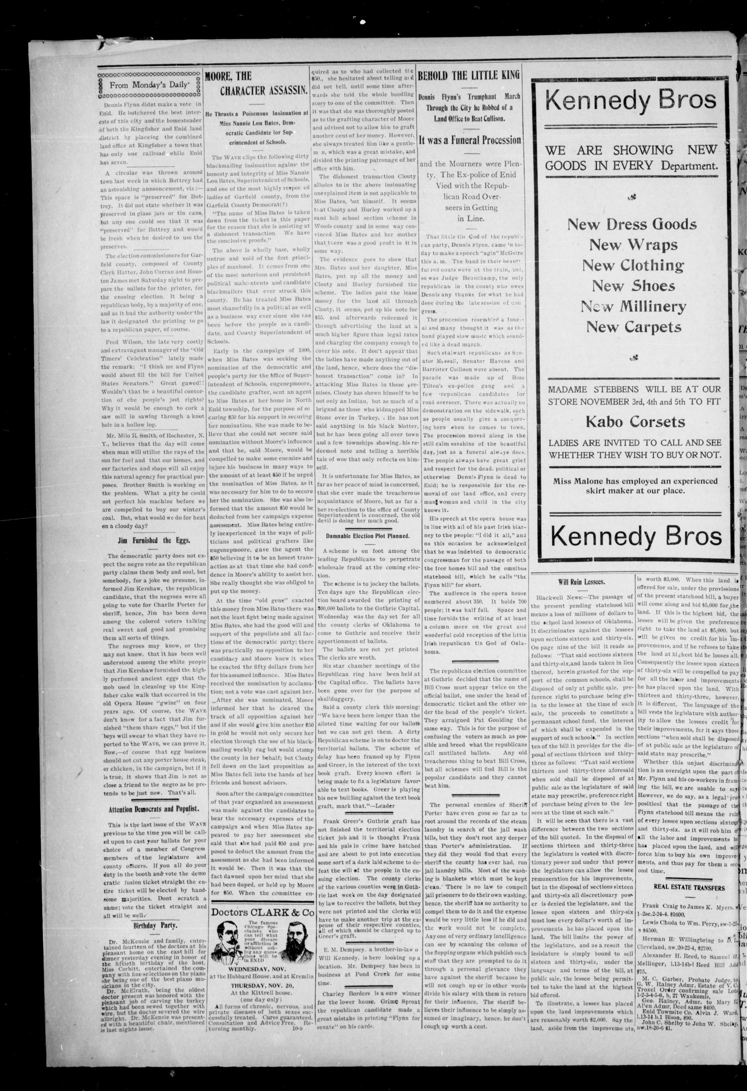 The Enid Weekly Wave. (Enid, Okla. Terr.), Vol. 9, No. 43, Ed. 1 Thurssday, October 30, 1902                                                                                                      [Sequence #]: 6 of 8