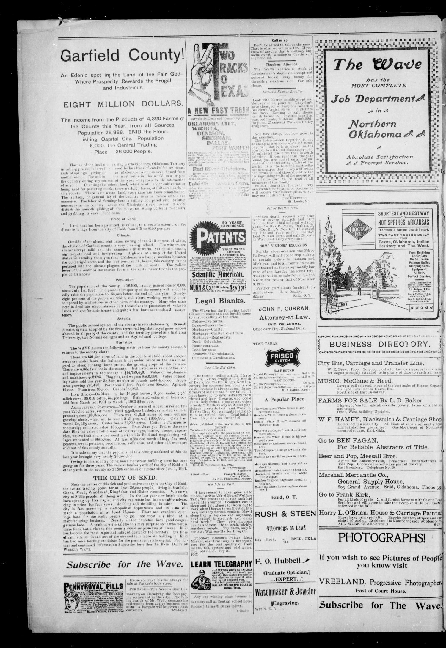 The Enid Weekly Wave. (Enid, Okla. Terr.), Vol. 9, No. 43, Ed. 1 Thurssday, October 30, 1902                                                                                                      [Sequence #]: 8 of 8