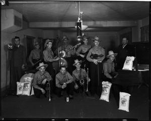 Primary view of object titled 'Band Promoting Heliotrope Flour at KOMA Radio in Oklahoma City, Oklahoma'.