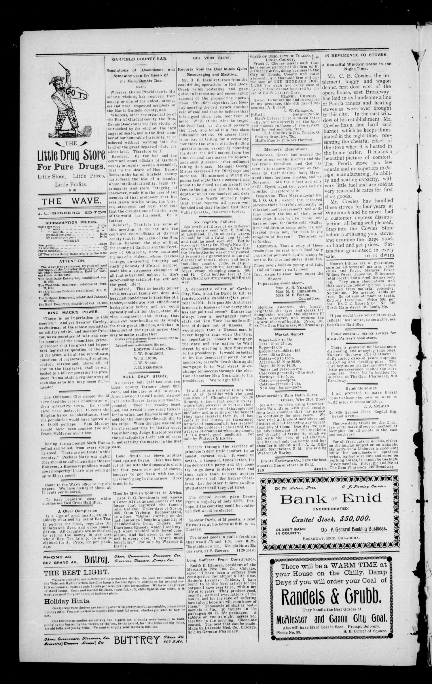 The Enid Weekly Wave. (Enid, Okla. Terr.), Vol. 7, No. 47, Ed. 1 Thursday, November 29, 1900                                                                                                      [Sequence #]: 2 of 8