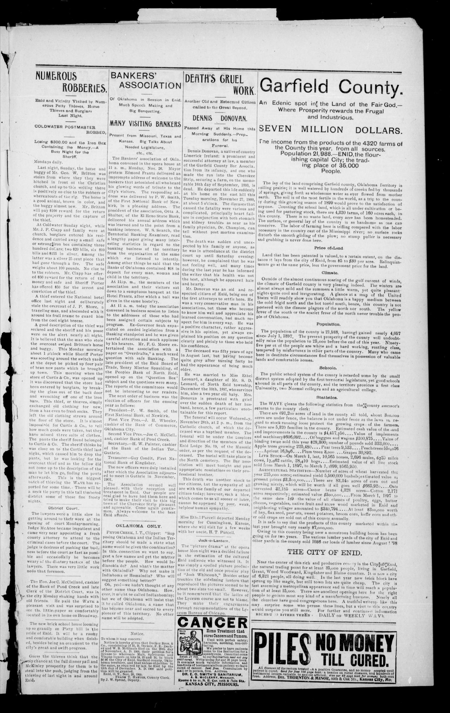 The Enid Weekly Wave. (Enid, Okla. Terr.), Vol. 7, No. 47, Ed. 1 Thursday, November 29, 1900                                                                                                      [Sequence #]: 3 of 8