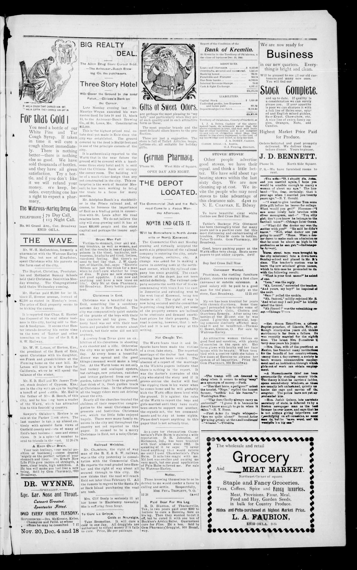 The Enid Weekly Wave. (Enid, Okla. Terr.), Vol. 7, No. 51, Ed. 1 Thursday, December 27, 1900                                                                                                      [Sequence #]: 3 of 8