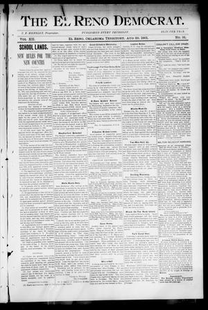 Primary view of object titled 'The El Reno Democrat. (El Reno, Okla. Terr.), Vol. 7, No. 31, Ed. 1 Thursday, August 29, 1901'.