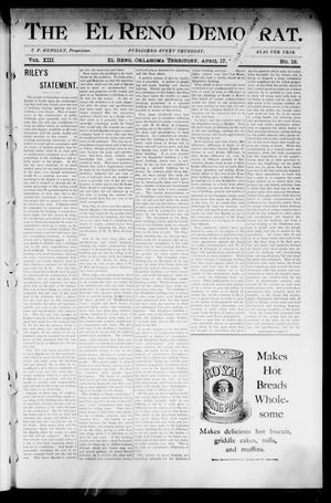 Primary view of object titled 'The El Reno Democrat. (El Reno, Okla. Terr.), Vol. 8, No. 12, Ed. 1 Thursday, April 17, 1902'.