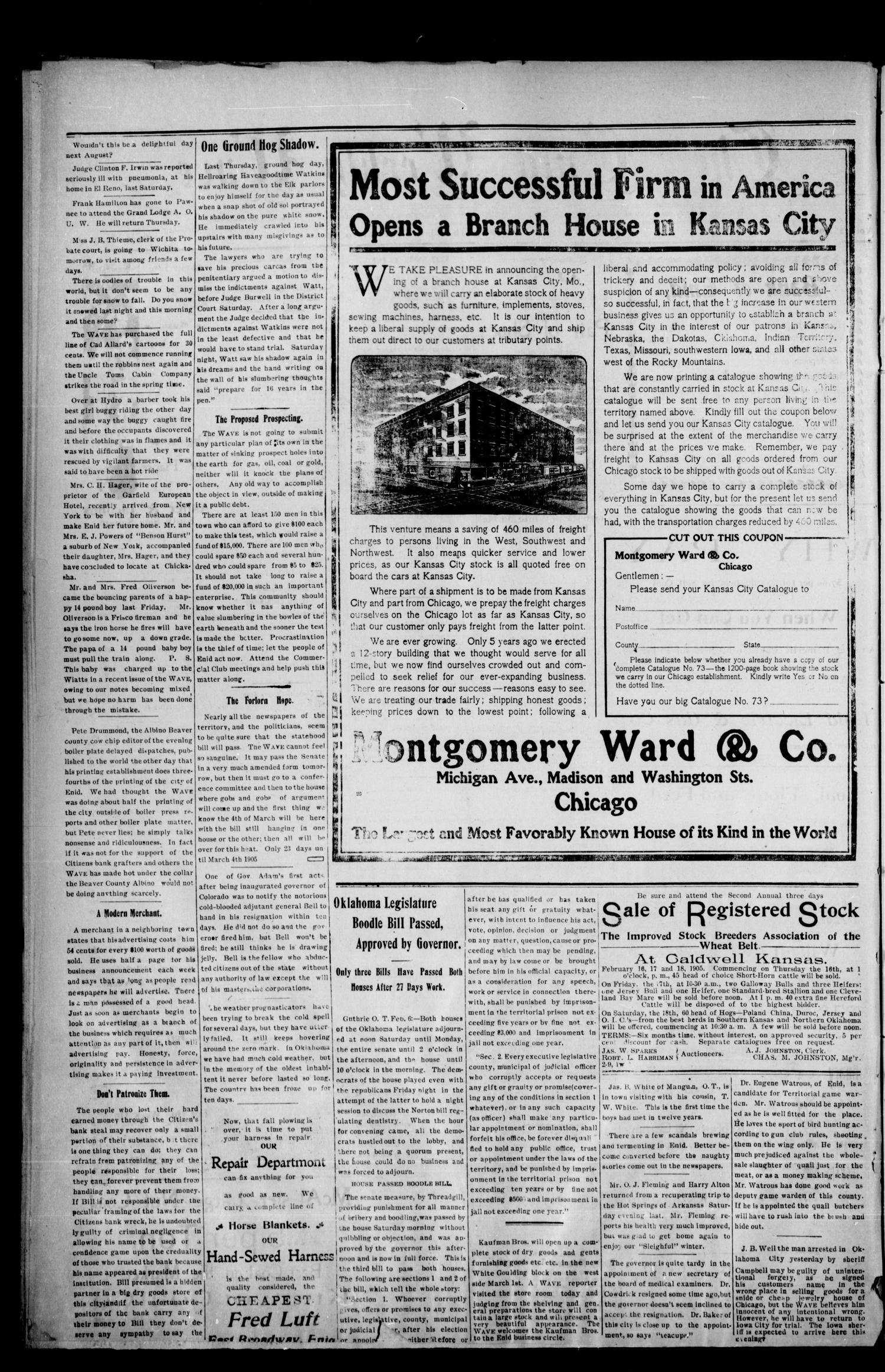 The Enid Weekly Wave. (Enid, Okla. Terr.), Vol. 12, No. 6, Ed. 1 Thursday, February 9, 1905                                                                                                      [Sequence #]: 2 of 8