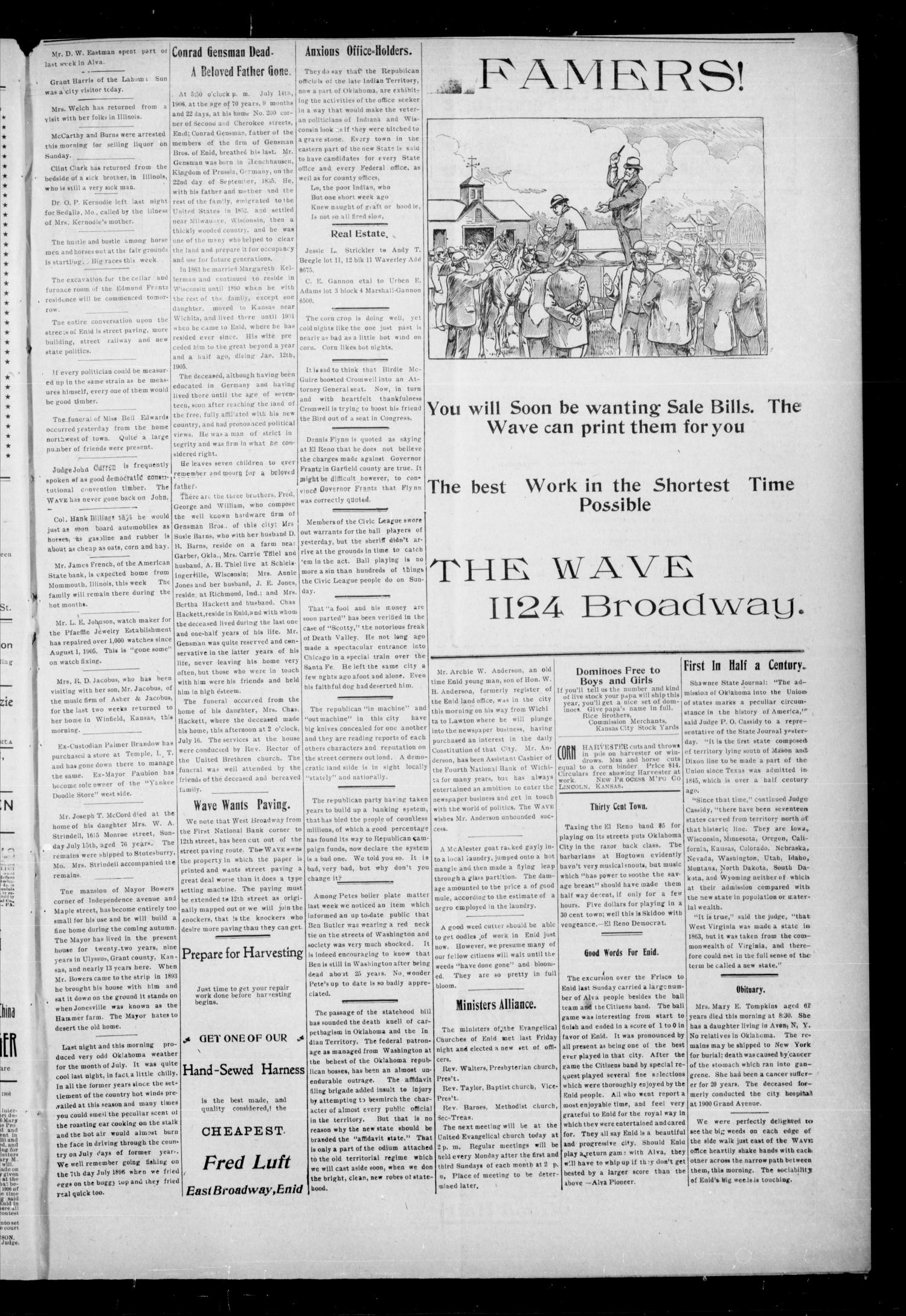 The Enid Weekly Wave. (Enid, Okla. Terr.), Vol. 13, No. 29, Ed. 1 Thursday, July 19, 1906                                                                                                      [Sequence #]: 3 of 8