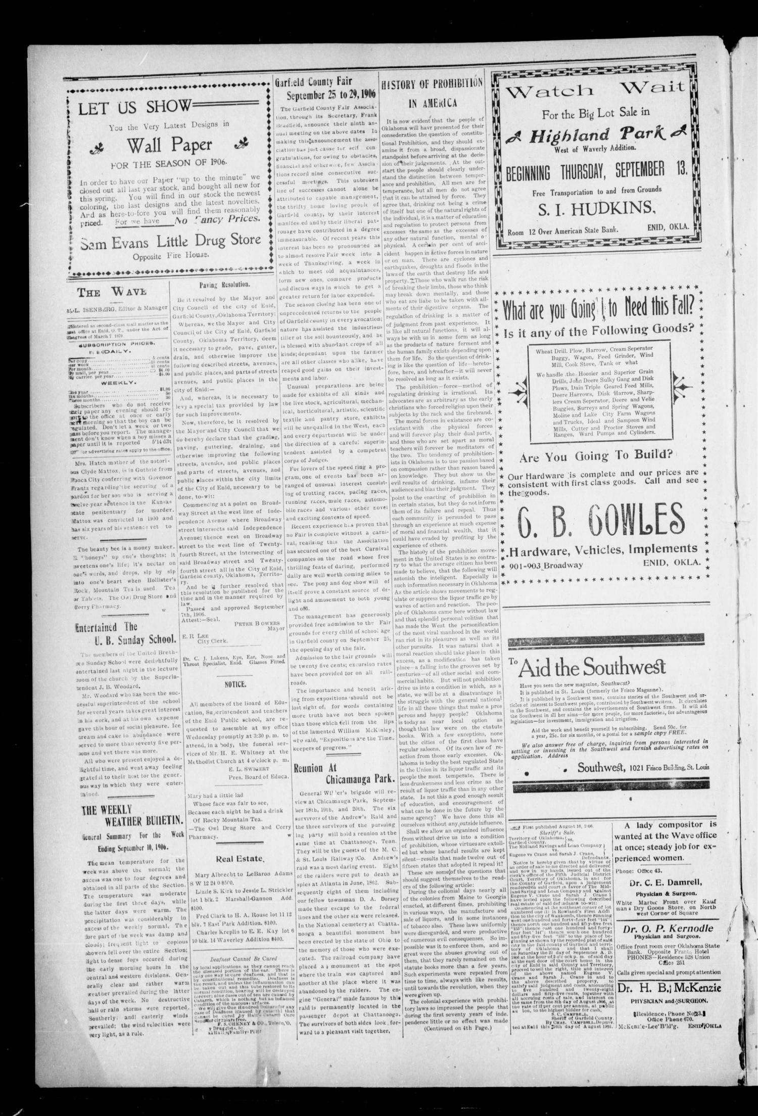 The Enid Weekly Wave. (Enid, Okla. Terr.), Vol. 13, No. 37, Ed. 1 Thursday, September 13, 1906                                                                                                      [Sequence #]: 2 of 8