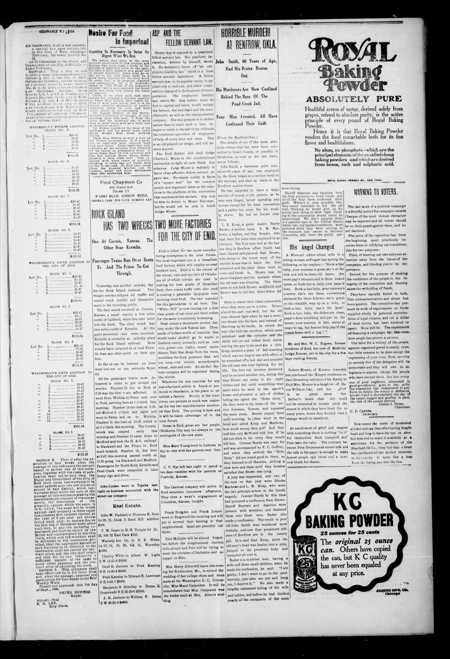 The Enid Weekly Wave. (Enid, Okla. Terr.), Vol. 13, No. 44, Ed. 1 Thursday, November 1, 1906                                                                                                      [Sequence #]: 5 of 8