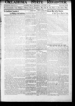 Primary view of object titled 'Oklahoma State Register. (Guthrie, Okla.), Vol. 15, No. 52, Ed. 1 Thursday, January 24, 1907'.