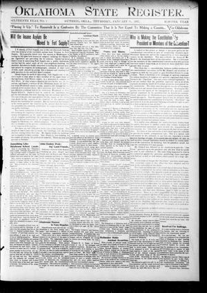 Primary view of object titled 'Oklahoma State Register. (Guthrie, Okla.), Vol. 16, No. 1, Ed. 1 Thursday, January 31, 1907'.