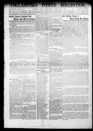 Primary view of object titled 'Oklahoma State Register. (Guthrie, Okla.), Vol. 16, No. 2, Ed. 1 Thursday, February 7, 1907'.